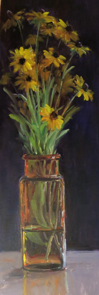 Kathleen Dunphy, Rudbeckia, oil, 23 x 8.