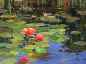 Kathryn Stats, Lilies on Water, oil, 36 x 48.