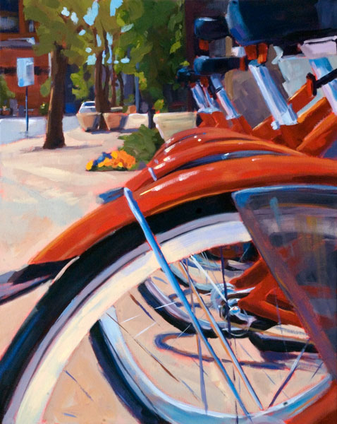 Kelly Berger, Cherry Bikes, acrylic, 30 x 24.