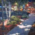 Kelly Kotary, Night on the Riverwalk, oil, 18 x 18.