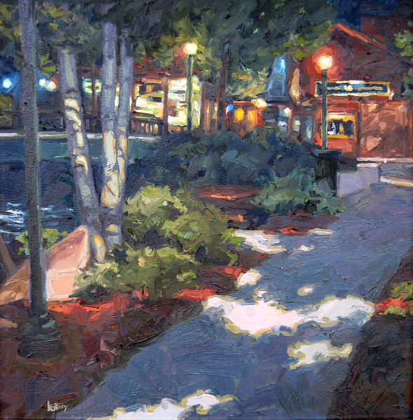 Kelly Kotary, Night on the Riverwalk, oil, 18 x 18.