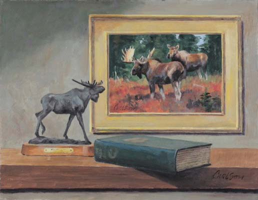 Ken Carlson, All Moose, oil, 10 x 13. (use this one)