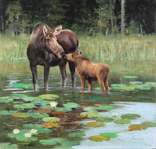 Ken Carlson, Tender Touch, oil, 23 x 24.