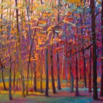 Ken Elliott, Orange and Red Woods, oil, 36 x 48.