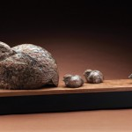 Steve Kestrel, Montezuma Quail Quest, Colorado granite/quartzite riverstone, 12 x 30 x 6.