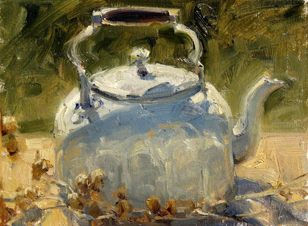 Carol Jenkins, Kettle, oil, 9 x 12.