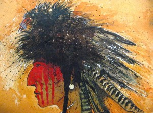 Kevin Red Star, Bird Man, mixed media, 22 x 30.