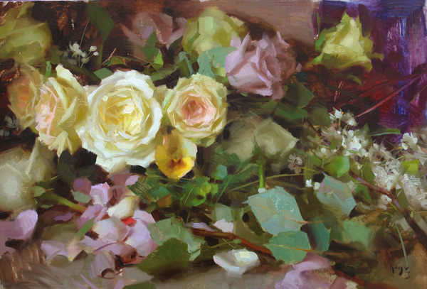 Daniel Keys, Pale Roses, oil, 14 x 20.