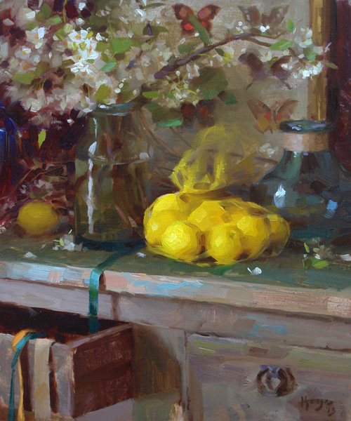 Daniel Keys, Spring Interior, oil, 12 x 10.