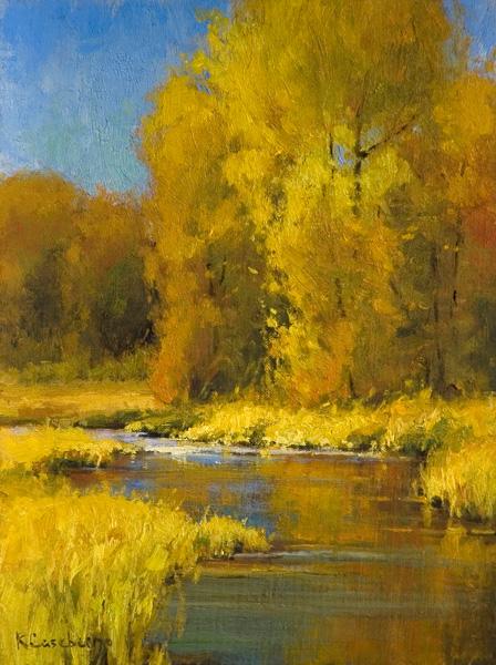 Kim Casebeer, Schwabacher Fall, oil, 12 x 9.