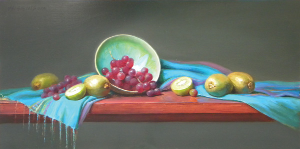 Wendy Higgins, Kiwi Heaven, oil, 10 x 20.