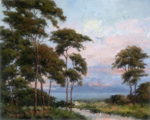 Sheryl Knight, Evening Cypress, oil, 16 x 20.