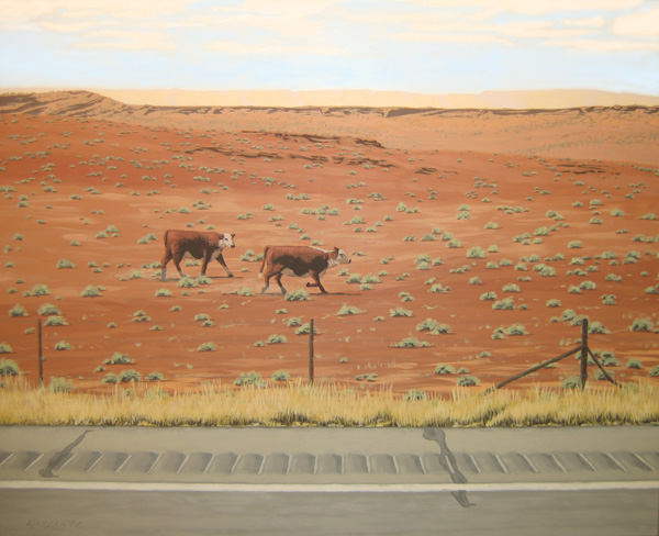Mark Knudsen, Sister Wives With Rumble Strip, acrylic, 24 x 36.