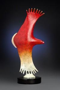 Rebecca Tobey, Kocopelli, bronze, 18 x 9 x 3.