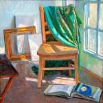Lyuba Titovets, In the Studio, oil, 36 x 36.