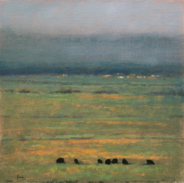 Nancy Bush, Lifting Mist, oil, 16 x 16.