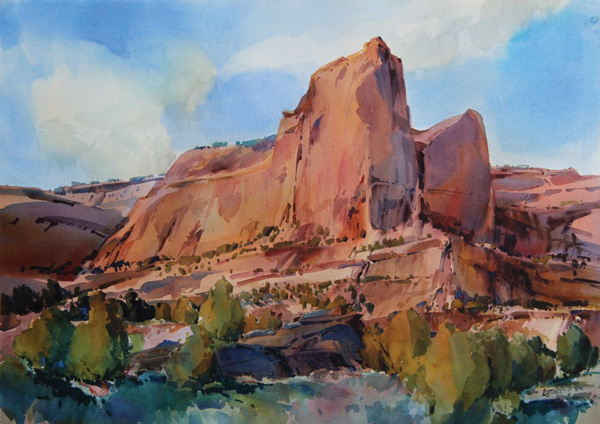 Dale Laitinen, Red Rock Cloud Scraper, watercolor, 29 x 41.