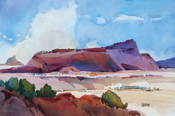 Dale Laitinen, Thunderclouds in Mesa Country, watercolor, 15 x 21.