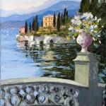 Evelyne Boren, Lake Como, oil, 36 x 43.