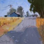 Kim VanDerHoek, Lakeville Road Blues, oil, 8 x 10.