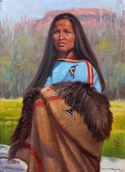 Steven Lang, Hankpapa Woman, oil, 7 x 5.