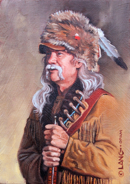 Steven Lang, Man of the Rockies, oil, 7 x 5.