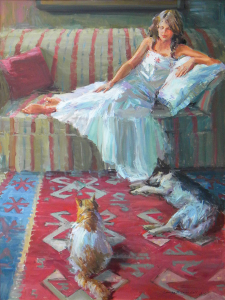 Lange Marshall, Soft Repose, oil, 48 x 36.