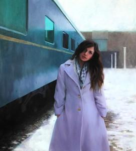 Mia Bergeron, Last Stop, oil, 64 x 58.