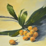 Laurel Daniel, Loquat Branch, oil, 18 x 18.