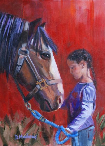 Diana Madaras, Leaving the Barn, acrylic, 16 x 12.