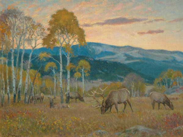 Lee Stroncek, Elk at Sunset, oil, 11 x 14.