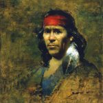 David A. Leffel, Pueblo Man With Eagle Feather, oil, 19 x 16.
