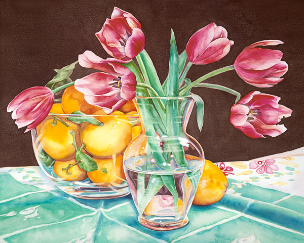 Lemons and Tulips, watercolor, 22 x 30.