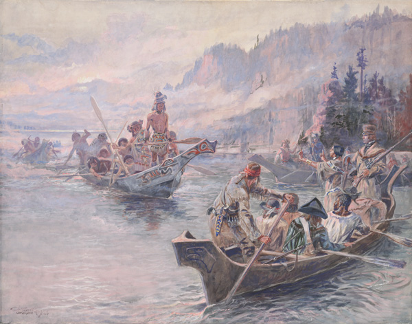 Charles M. Russell, Lewis and Clark on the Lower Columbia, 1905, opaque and transparent watercolor, Amon Carter Museum of American Art.