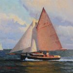 Calvin Liang, Sailing Along San Diego Bay, oil, 16 x 20.