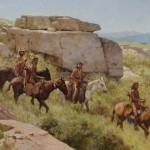Z.S. Liang, Blackfeet on the Upper Musselshell River Valley, oil painting at the Jackson Hole Art Auction.