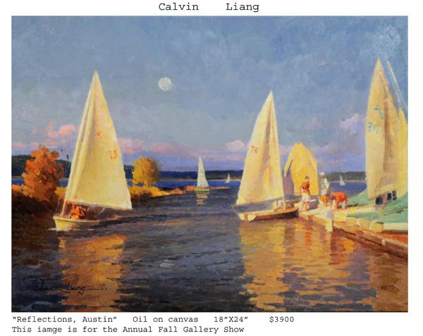 Calvin Liang Reflections, Austin, oil, 18 x 24.