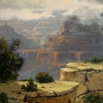 Linda Glover Gooch, Light on the Ledge, oil, 28 x 22.