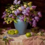 Elizabeth Robbins, Lilacs and Apples, oil, 28 x 30.
