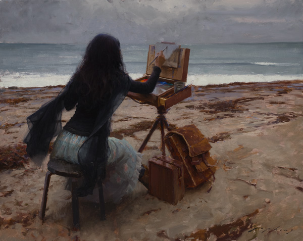 Jeremy Lipking, Plein Air, oil, 16 x 20.