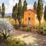 Evelyne Boren, Little Chapel Amongst the Vines, oil, 36 x 40.