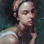 Fongwei Liu, Lost in Thought, oil, 12 x 9.