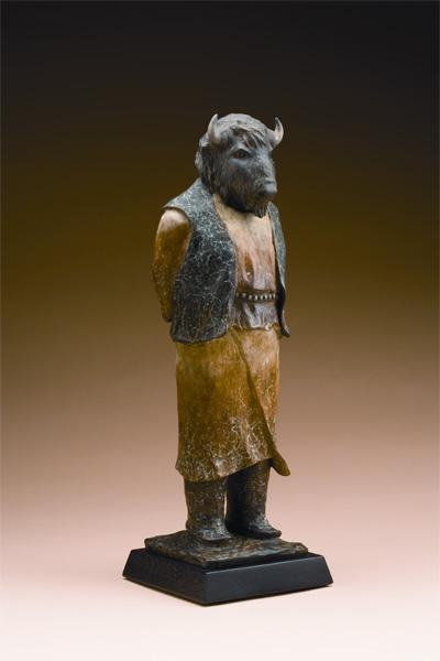 Liz Wolf, Ancient Provider, bronze, 22 x 7 x 7.