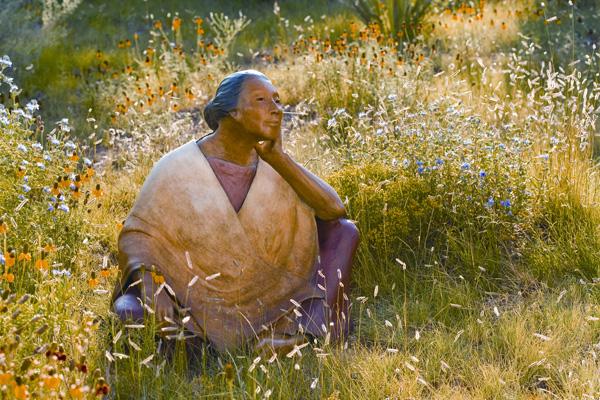 Liz Wolf, Listening, bronze, 24 x 24 x 19.