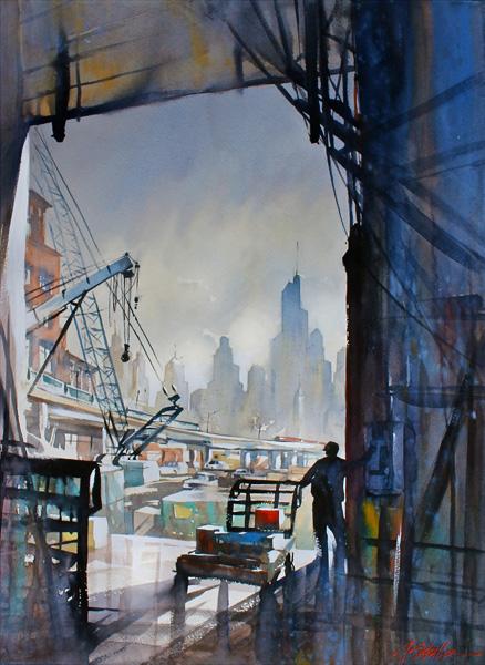 Thomas W. Schaller, Loading Dock, Seattle, watercolor, 30 x 22.
