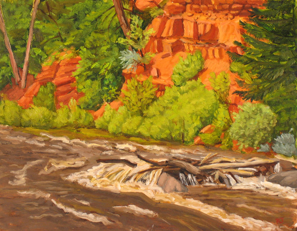 Paul Jarzemsky, Log Jam on the Frying Pan River, oil, 11 x 14.