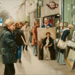 London Street Artists, oil, 23 x 27.
