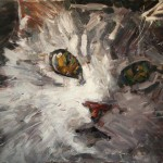 Clyde Steadman, Long Haired Domestic Long Hair, oil painting