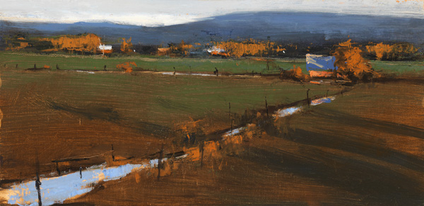 Romona Youngquist, Long Shadows, oil, 10 x 18.