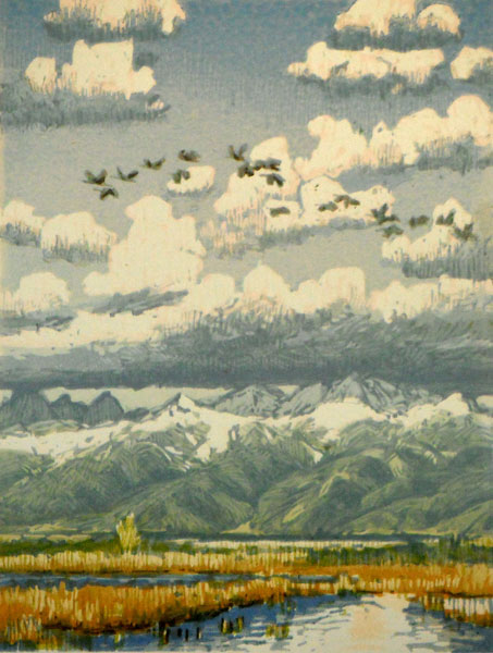 Flight of Cranes, woodblock print, 12 x 9.